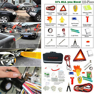 Multipurpose Roadside Assistance Car Emergency Kit Auto Safety Tools 123pcs pack