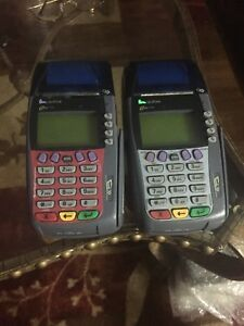 2 verifone Omni 3750 Credit Card Terminal W Chip Reader Omni3750
