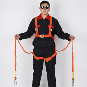 2m Fall Protection Full Body Safety Harness Double Ropes And Hooks 100kg