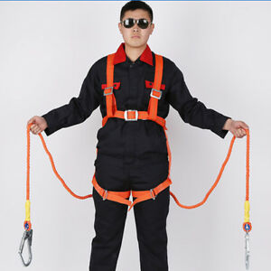 2m Fall Protection Full Body Safety Harness Double Ropes Big Hooks 100kg