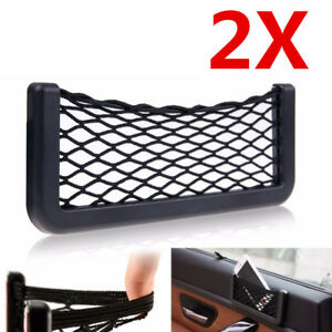 2x Universal Car Seat Side Back Net Storage Bag Phone Holder Pocket Organizer