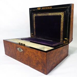 Early 19th C English Regency Fancy Burled Walnut Inlaid Traveling Writing Box