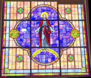 Huge Antique Stained Glass Religious Jesus Window 15 Feet Tall 15 Feet Wide