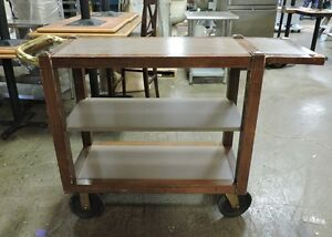 3 tier Wooden Utility Cart With Wheels And Extender