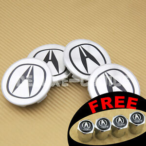 Set Of 4 Brushed Aluminum Silver Logo Wheel Cap Hub Center Us Seller 69mmm