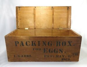 Late 19th Early 20th C Wooden Egg Packing Box W Hinged Lid Orig Ink S