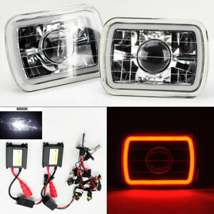 7x6 6k Hid Xenon H4 Clear Glass Ccfl Red Halo Projector Headlight Pair Chevy