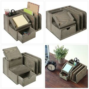 Mygift Rustic Gray Wood Desktop Office Organizer Sticky Note Pad Holder Mail