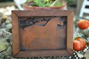 Antique Printing Printers Letterpress Wood Copper Block Riding Horse Farm Framed
