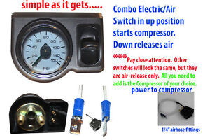 Air Ride Suspension Single Needle Air Gauge Panel 200psi 1 Paddle Switch Control