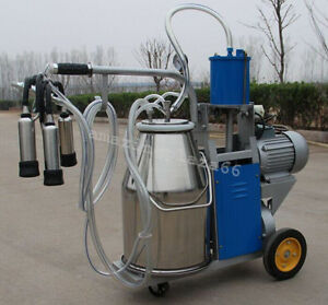 Electric Vacuum Pump Milking Machine For Farm Cows 25l Bucket portable Wheels