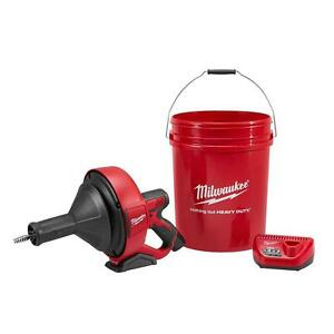 Milwaukee Cordless 12 volt Auger Drain Plumbing Snake Electric Battery Powered