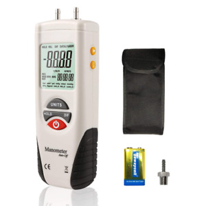Digital Manometer Dual Port Air Pressure Meter Pressure Gauge Hvac Gas Tester