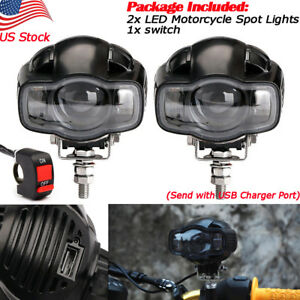 2x Motorcycle Led Driving Fog Lamp E9 Auxiliary Spot Light Usb Charger Switch