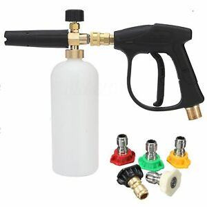 M22 Car High Pressure Washer Spray Gun 1 4 Nozzle Tips 1l Snow Foam Lance