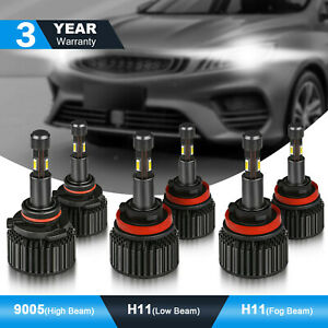Mostplus 9005 H11 H8 Led Headlights Combo Kit High Low Beam Fog Light 6pcs