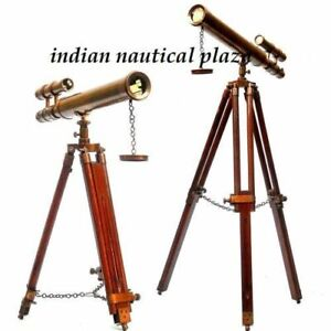Antique Nautical Brass Telescope With Tripod Stand Handmade Vintage Style