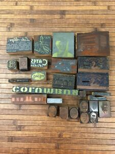 Lot Of 27 Vintage Letterpress Printing Block Toledo Ohio Area Advertising