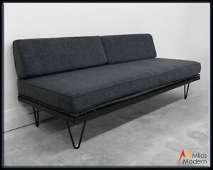 Vtg 50s Mid Century Modern Gray Sofa Daybed Steel Hairpin Legs New Upholstery