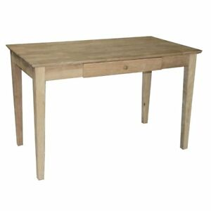 International Concepts Solid Hardwood Unfinished Writing Desk With Drawer