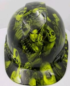 Hard Hat Custom Hydro Dipped Osha Approved Tattoo Babes Lime Green