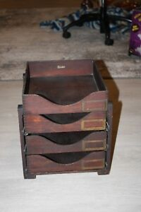4 Tiered Desk Tray Wood In Out Paper Letter Box Globe Wernicke Art Deco Office