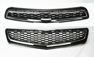 Honeycomb Mesh Chrome Front Bumper Upper Lower Grille For Chevy Malibu 2013