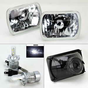 7x6 Clear Glass Headlight Conversion W 6000k 36w Led H4 Bulbs Pair Rh Lh Ford
