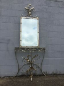 Rare Vintage Labarge Metal Foyer Table Beveled Wall Mirror W Crystal Birds