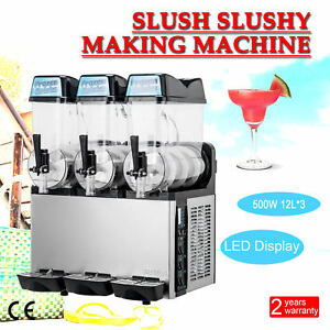 3 X 12l Slush Making Machine Slushy Smoothie Maker 600w For Commercial Use