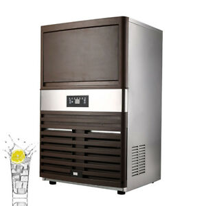 Ac110v Auto Commercial Ice Maker Cube Machine 60kg Stainless Steel Bar 300w