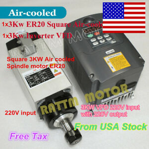 us Stock 3kw Er20 Square Air Cooled Spindle Motor 3kw Vfd 220v For Cnc Router