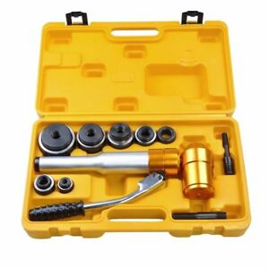 6 Dies 6 Ton Hydraulic Knockout Punch Driver Kit Hand Pump Hole Tool 11 gauge