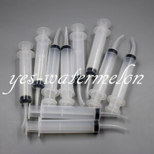 100 Pcs Dental 12ml Plastic Disposable Irrigation Syringe Curved Tip Instrum