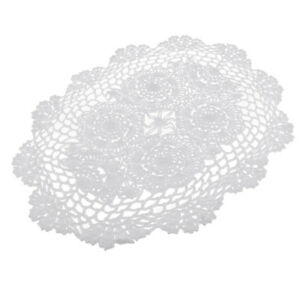 Floral Hand Crochet Table Runner Doily White Lace Doilies Placemat 30 X 45cm