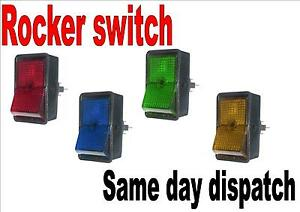 Rocker Switch On Off Switch Illuminated Red Green Amber Blue 12 5mm
