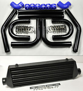 Universal High Quality Black Intercooler 2 5 8pc U Piping Kit Aluminum Blue Sub