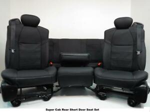 Ford Super Duty Seats Super Cab Set Black Leather F250 F250 F550 F650 Extended