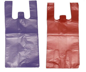 400 Red And Purple Plastic T shirt Shopping Bags Handles Grocery 11 5 x6 x21