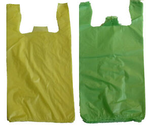 400 Yellow And Green Plastic T shirt Shopping Bags Handles Grocery 11 5 x6 x21