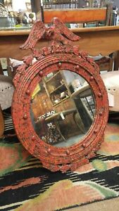 Vintage Italian Federal Style Eagle Distressed Mirror With Faux Painted Finish