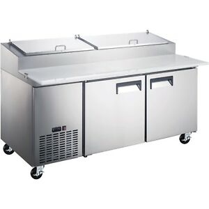 Commercial Kitchen 2 Door Refrigerated Pizza Prep Table 71