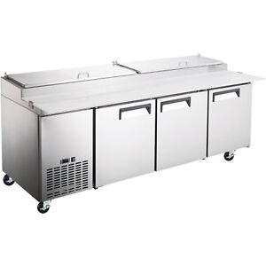 Commercial Kitchen 3 Door Refrigerated Pizza Prep Table 92