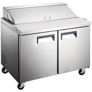 Commercial Kitchen 2 Door Refrigerated Sandwich Salad Prep Table 47