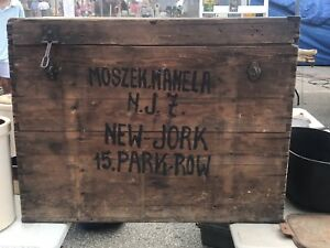 Antique Primitive Wood Painted Immigrant Trunk Chest Box Dovetail Jewish
