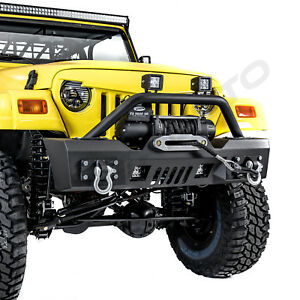 Rock Stubby Front Bumper Winch Plate 2x Led Light For 97 06 Jeep Wrangler Tj