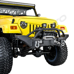 Full Crawler Hd Front Bumper winch Plate 2x Led Light For 97 06 Jeep Wrangler Tj