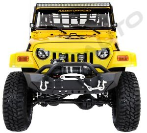 Hd Rock Crawler Front Bumper Winch Plate 2x Led Light For 97 06 Jeep Wrangler Tj