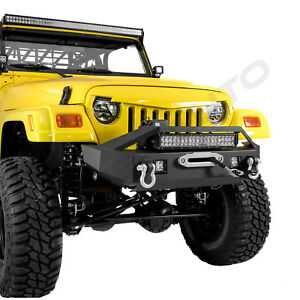 Front Bumper Winch Plate 21 Led Light Bar 2x Led For 97 06 Jeep Wrangler Tj