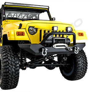 Classic Hd Rock Crawler Front Bumper winch Plate For 97 06 Jeep Wrangler Tj